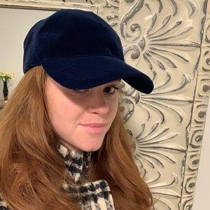 Zara midnight blue velvet baseball cap